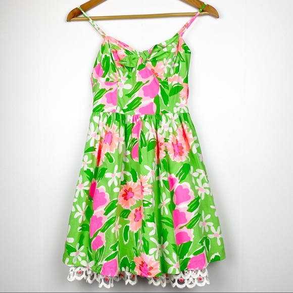 LILLY PULITZER Green Pink Floral Lace Detail 00